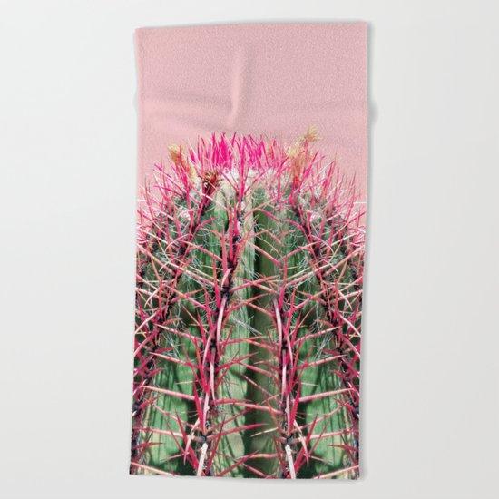 Sweet Pink Cactus Beach Towel