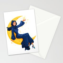 Lady on the Moon Stationery Cards
