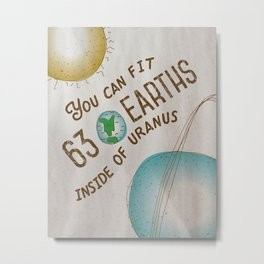 Uranus Joke Bathroom Poster - Solar System Series Metal Print