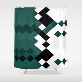 Emerald Green White Black Geometrical Pattern Shower Curtain