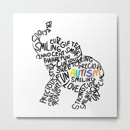 Autism Elephant Awareness Day Autistic Child Gift Metal Print
