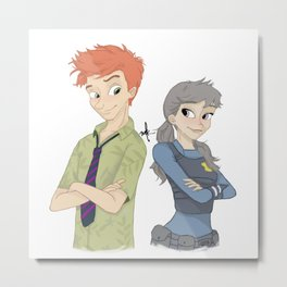 HUMAN NICK AND JUDY Metal Print