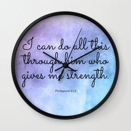 Philippians 4:13, Inspiring Bible Verse Wall Clock