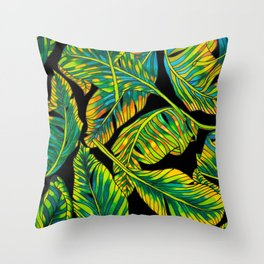 Banana Leaf Belize on Silk Throw Pillow