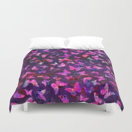 Butterfly Forest Purple Duvet Cover