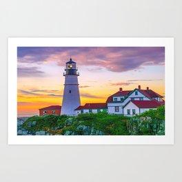 Portland Head Lighthouse Sunrise Print Art Print