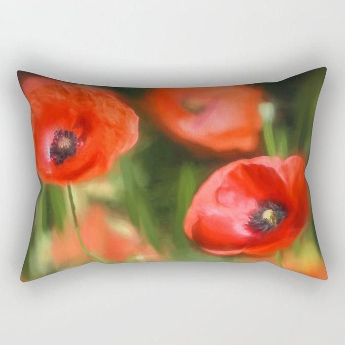 Warmth- Floral Flower Poppies in love- Poppy flowers #Society6 Rectangular Pillow