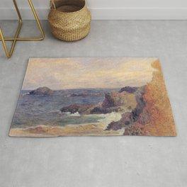 """Paul Gauguin - Seascape """"Rochers au bord de la mer"""" or """"La Côte rocheuse"""" (1886) Rug"""