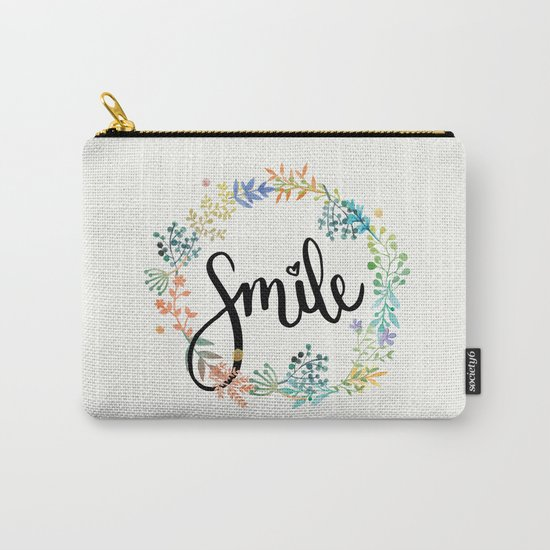 Smile, Watercolor Flowers Carry-All Pouch
