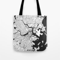 boston map Tote Bags featuring Boston Map Gray by City Art Posters