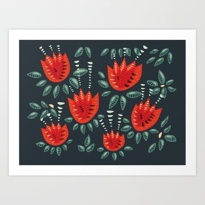 Abstract Red Tulip Floral Pattern Art Print