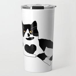 a cat with heart shape Travel Mug