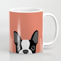 terrier Mugs featuring Boston Terrier by Anne Was Here