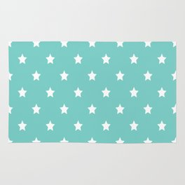 Blue Tiffany With White Stars Pattern Rug