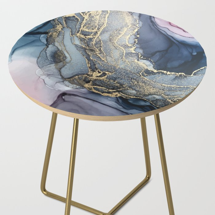 Blush, Payne's Gray and Gold Metallic Abstract Side Table