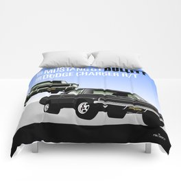 Ford Mustang and Dodge Charger from Bullitt Comforters