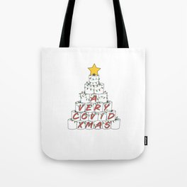 A Very Rona Xmas Funny 2020 Toilet Paper Roll Christmas Tree with Retro Colored Stringer Lights and a Gold Star Topper Tote Bag