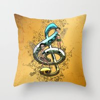 decorative Throw Pillows featuring Decorative clef  by nicky2342