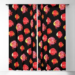 Red discus Blackout Curtain