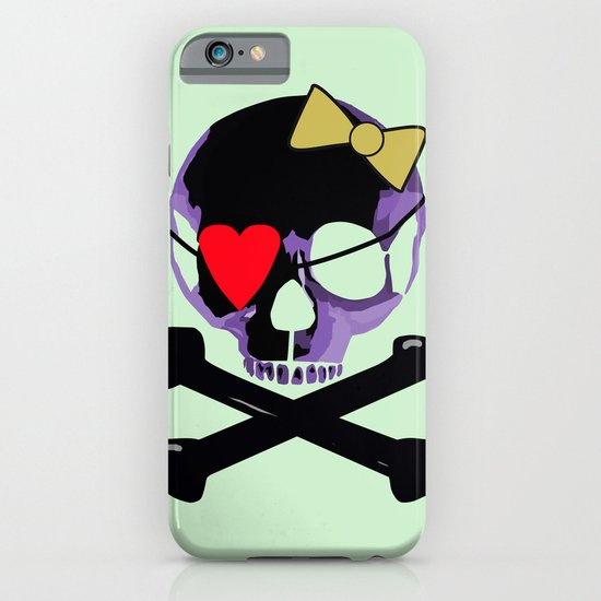 Purple skull heart with bow iPhone & iPod Case