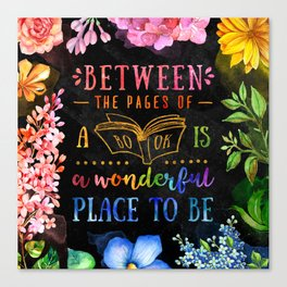 Between the pages - black Canvas Print