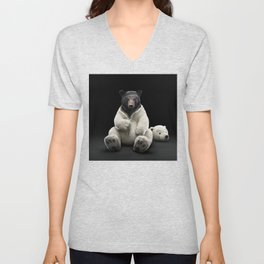 Black bear wearing polar bear costume Unisex V-Neck