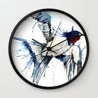swallow Wall Clocks featuring My Swallow by Meg Ashford