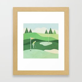 On The Green Two Stokes Under Framed Art Print
