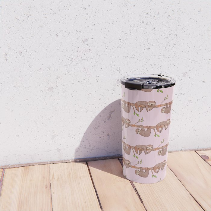 Lazy Baby Sloth Pattern in Pink Travel Mug