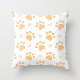 Happy salmon dogs paws Throw Pillow