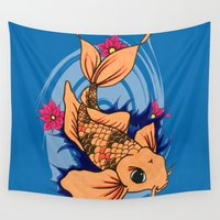 koi fish Wall Tapestries featuring koi fish by Pinkspoisons