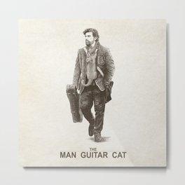 The Man Guitar Cat Metal Print