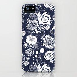 Summer Garden Indigo Floral Pattern iPhone Case