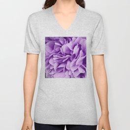 Fine Art Violet Purple Chiffon Ruffles Unisex V-Neck