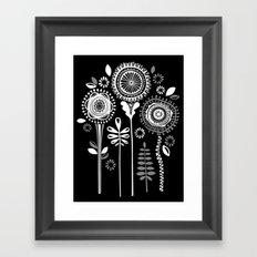 Folksy Flowerheads reverse Framed Art Print