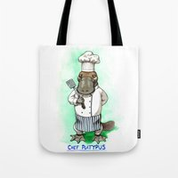 platypus Tote Bags featuring Chef Platypus by Jessie L.P.