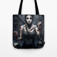 tomb raider Tote Bags featuring Tomb Raider by Max Grecke