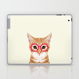 Ginger - Cute cat with glasses hipster cat art for dorm college decor funny cat lady meme Laptop & iPad Skin