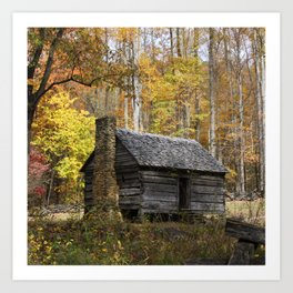 Smoky Mountain Rural Rustic Cabin Autumn View Art Print