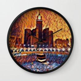 Saudi Arabia Mecca Artistic Illustration Closed Environment Style Wall Clock