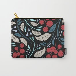 Holiday Holly and Mistletoe Pattern Carry-All Pouch