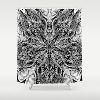 doberman Shower Curtains featuring ornament by Кaterina Кalinich