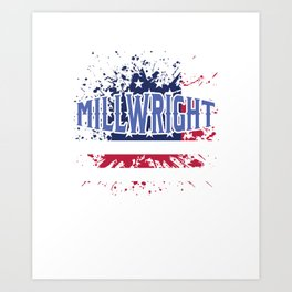 Cool Patriotic American Millwright USA America Flag Art Print
