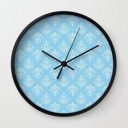 French Damask, Ornaments, Swirls - Blue White  Wall Clock