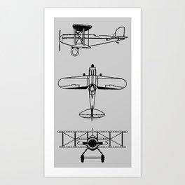 Biplanes // Silver Art Print