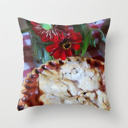 Cherry Pie with Red Flowers Throw Pillow