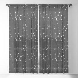 Aquarius Star Constellation Sheer Curtain