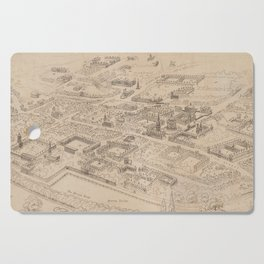 Vintage Pictorial Map of Oxford England (1850) Cutting Board