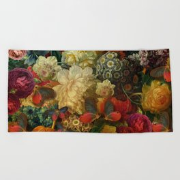 """""""Baroque Spring of Flowers and Butterflies"""" Beach Towel"""