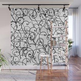 black thin pattern on white underground Wall Mural